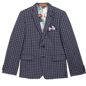 Tallia linen check two button blazer blue-boys 18R